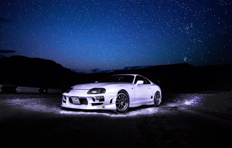 Photo wallpaper Toyota, Sky, Stars, White, Supra, Tuning, TRD, Nigth
