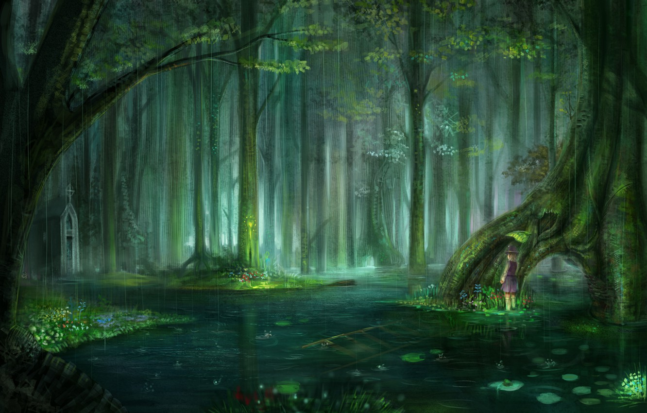Photo wallpaper forest, water, drops, rain, mood, anime, weather