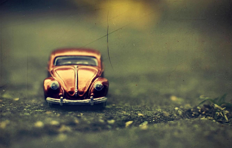 Photo wallpaper machine, macro, toy, Volkswagen Beetle, Volkswagen Beetle