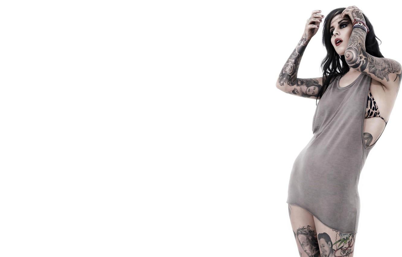 Photo wallpaper pose, background, body, Girl, Kat Von D, tattoo