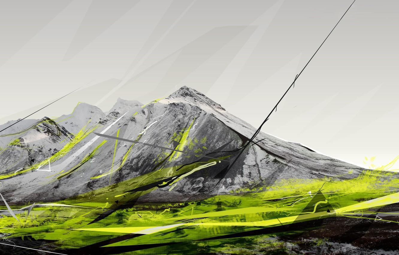 Photo wallpaper figure, Mountains, sketch