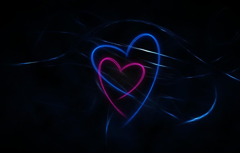 Wallpaper Dark Black Blue Pink Background Lines Hearts