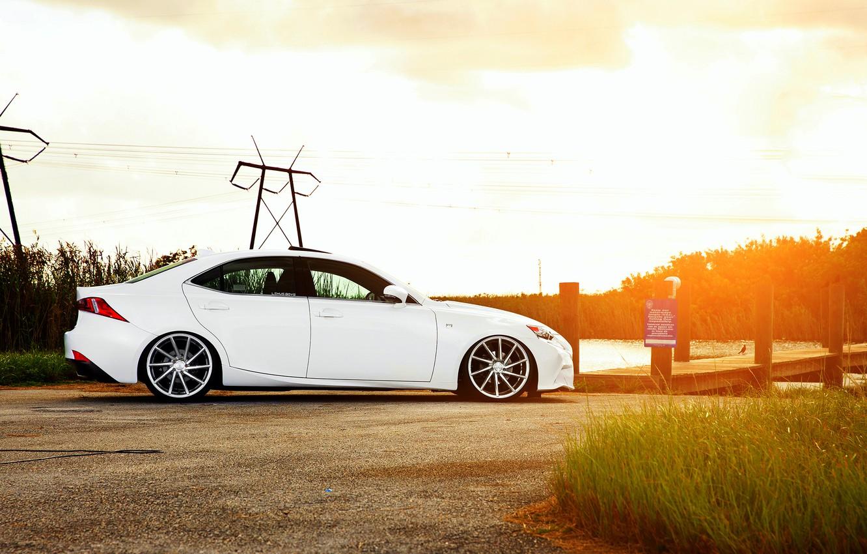 Photo wallpaper Lexus, white, side, vossen wheels, IS F-sport