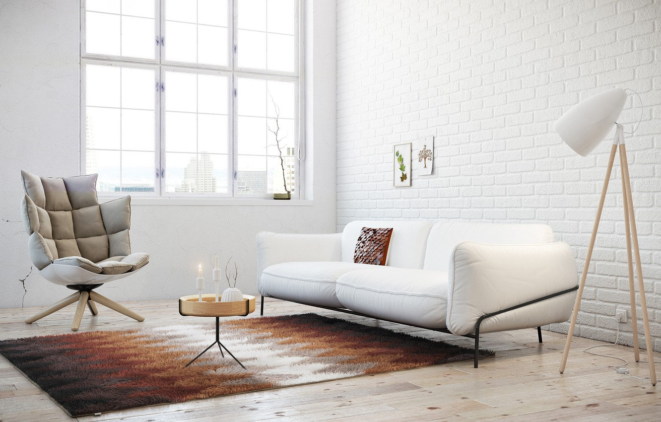 Photo wallpaper white, sofa, carpet, chair, window, pictures, table, floor lamp