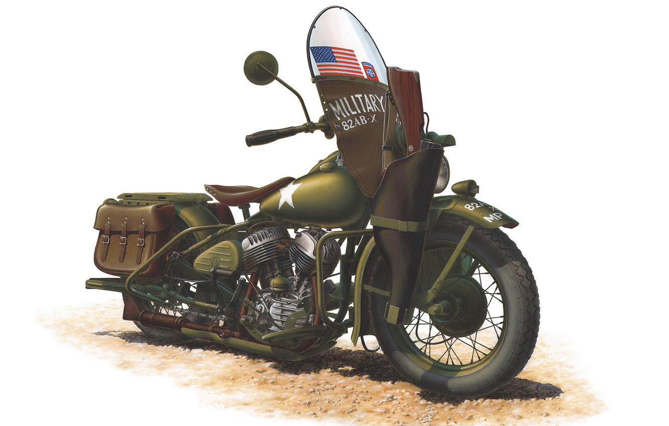 Photo wallpaper color, engine, model, art, soldiers, khaki, motorcycle, USSR, American, was, Harley-Davidson, for, Tom, lend-lease, WW2., …