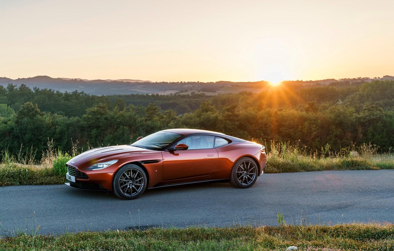 Photo wallpaper road, machine, the sun, Aston Martin, Aston Martin, supercar, handsome, DB11