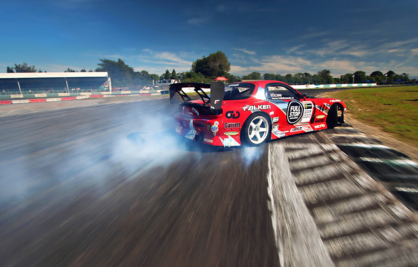 Photo wallpaper Mazda, Red, Drift, Sky, Smoke, RX-7, Tuning, Sportcar, competition
