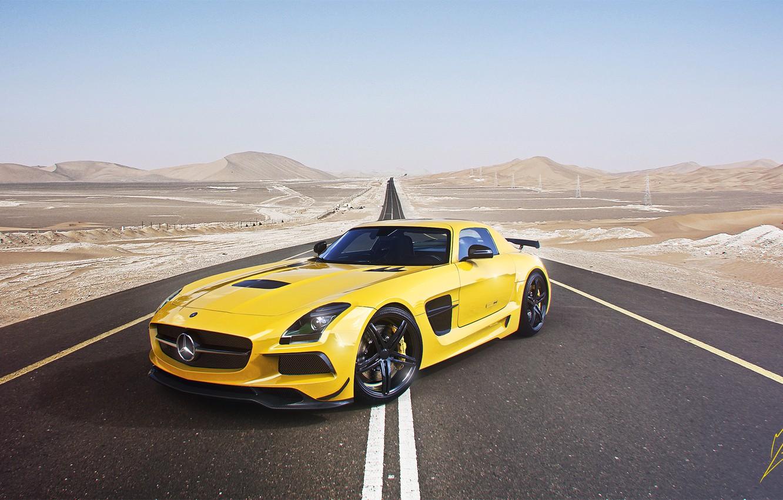 Photo wallpaper Mercedes-Benz, Sky, AMG, SLS, Yellow, Road, Supercar, Black Edition, Desert