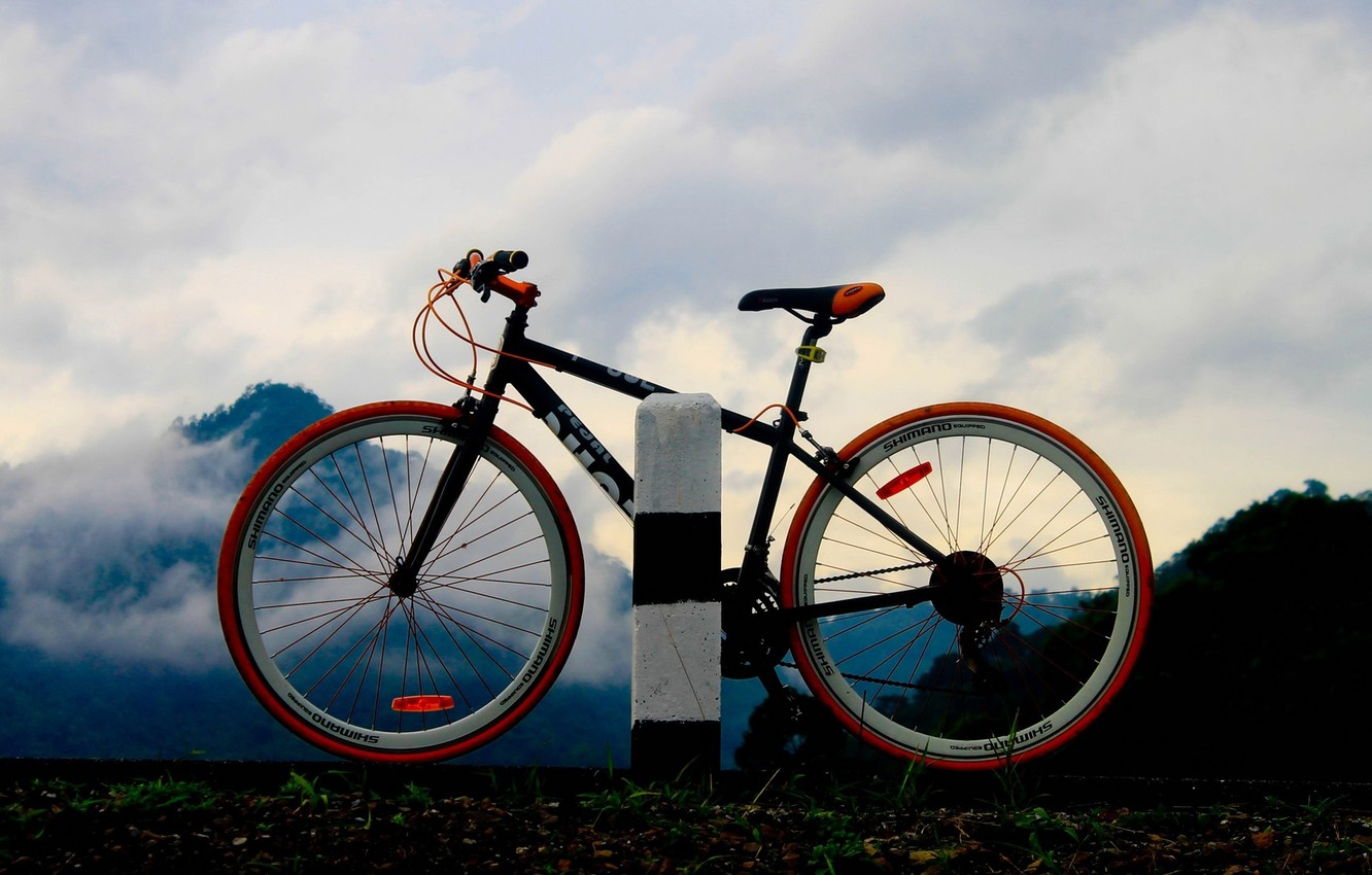 Photo wallpaper ROAD, FOREST, NATURE, MOUNTAINS, The SKY, MOVEMENT, CLOUDS, BIKE, WHEEL, SILHOUETTE, SPOKES, FRAME, TRIP, DISTANCE, …