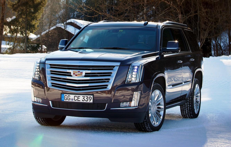 Photo wallpaper winter, snow, Cadillac, Escalade, Cadillac, 2015, EU-spec, Escalade