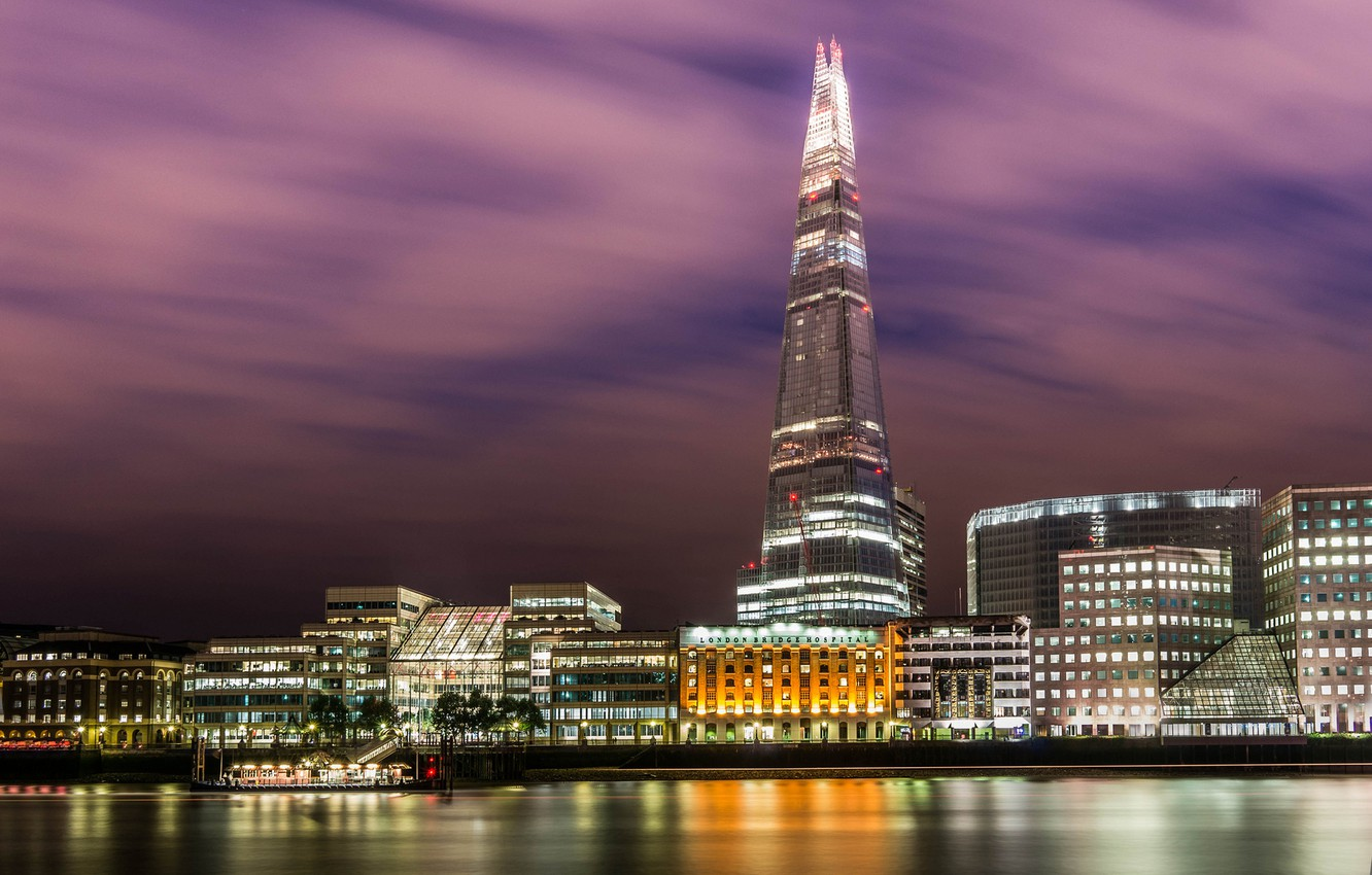 Photo wallpaper water, light, night, the city, lights, reflection, river, England, London, building, home, UK, Thames, skyscraper, …