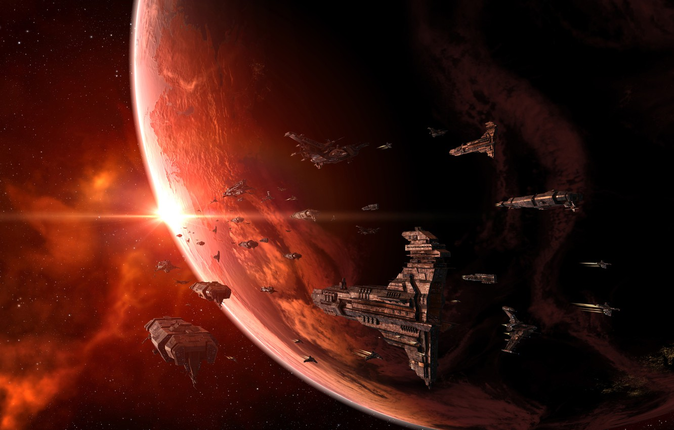 Photo wallpaper planet, stars, Navy, space ships, Spaceships