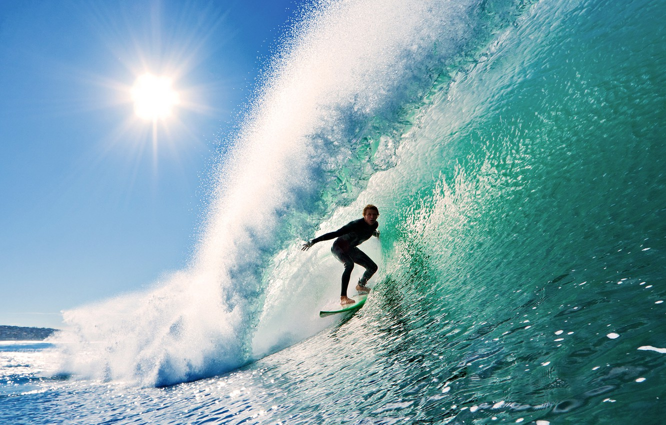 Photo wallpaper the sky, the sun, wave, surfing