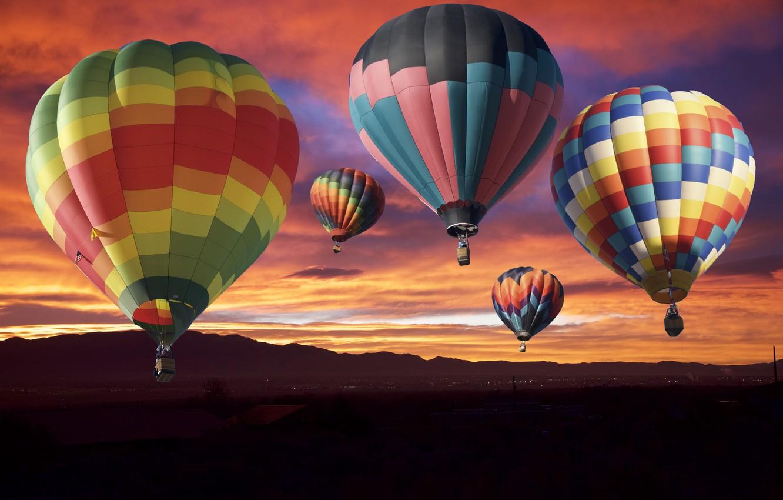 Photo wallpaper the sky, sunset, balloons