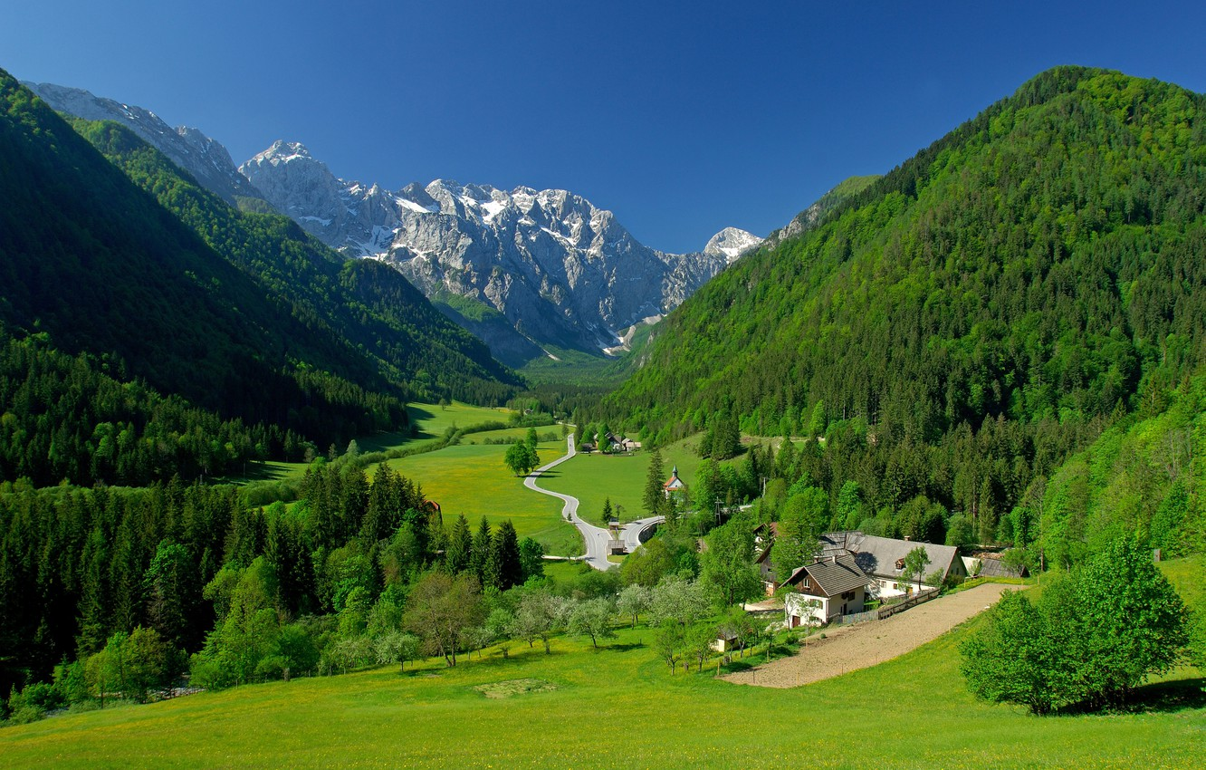Photo wallpaper greens, the sky, grass, trees, mountains, home, spring, valley, Alps