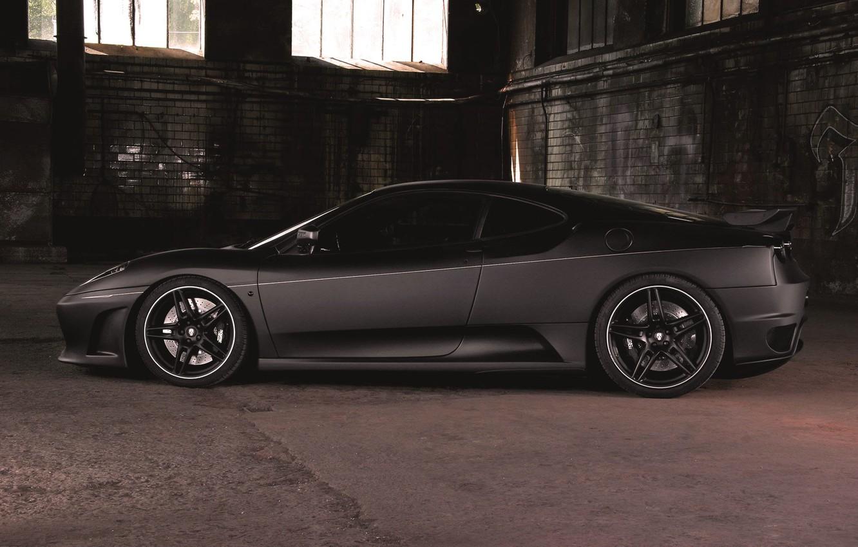 Photo wallpaper Auto, Black, Machine, Ferrari, F430, Ferrari, Matt, Sports car, The room, Side view