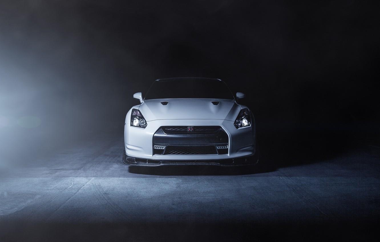 Photo wallpaper white, smoke, nissan, white, Nissan, gt-r, the front, GT-R, r35