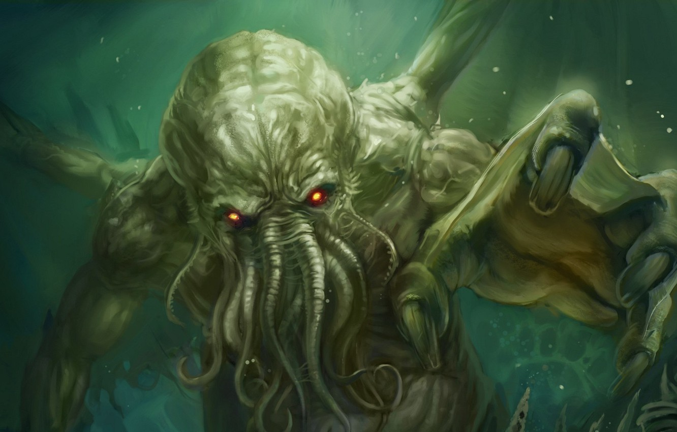 Photo wallpaper wings, monster, octopus, Cthulhu, tentacles, cthulhu