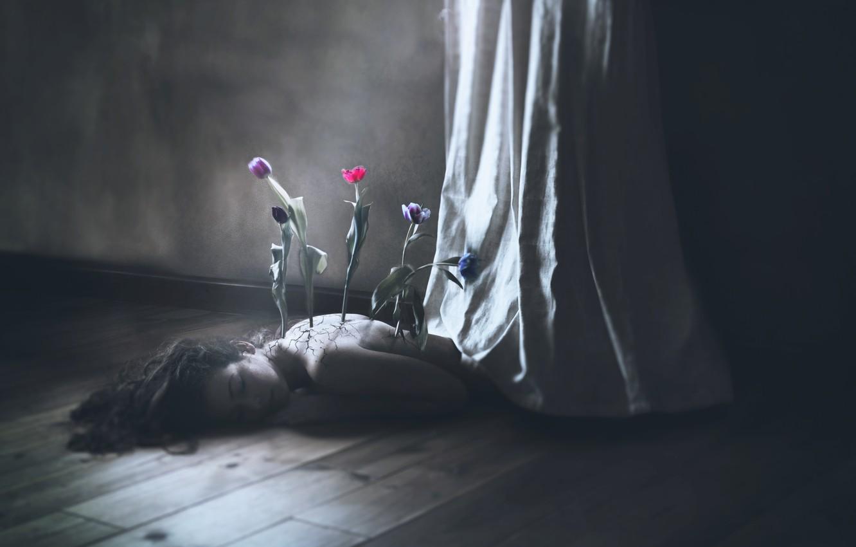 Photo wallpaper girl, flowers, background