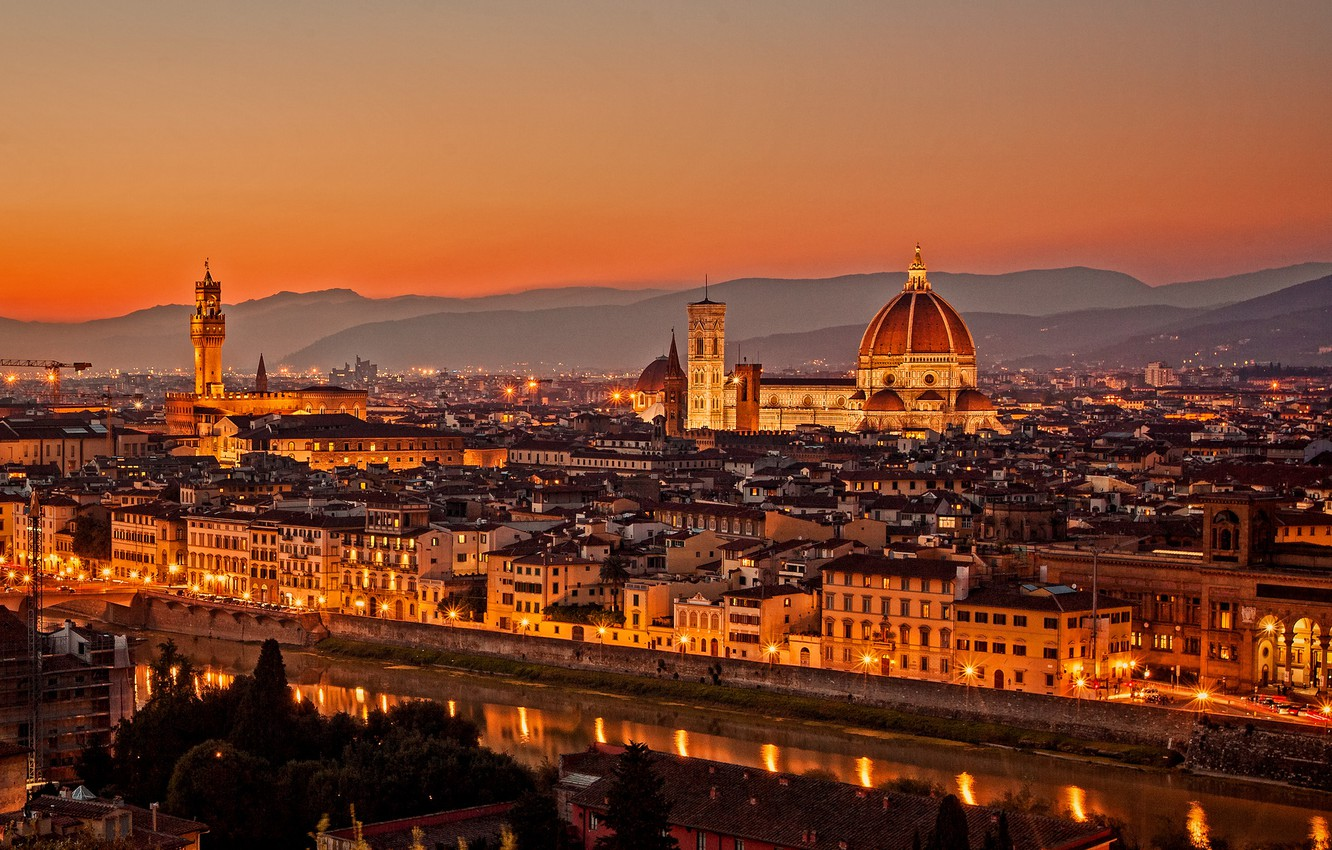 Photo wallpaper sunset, bridge, the city, lights, view, building, home, the evening, Italy, panorama, Cathedral, Florence, architecture, …