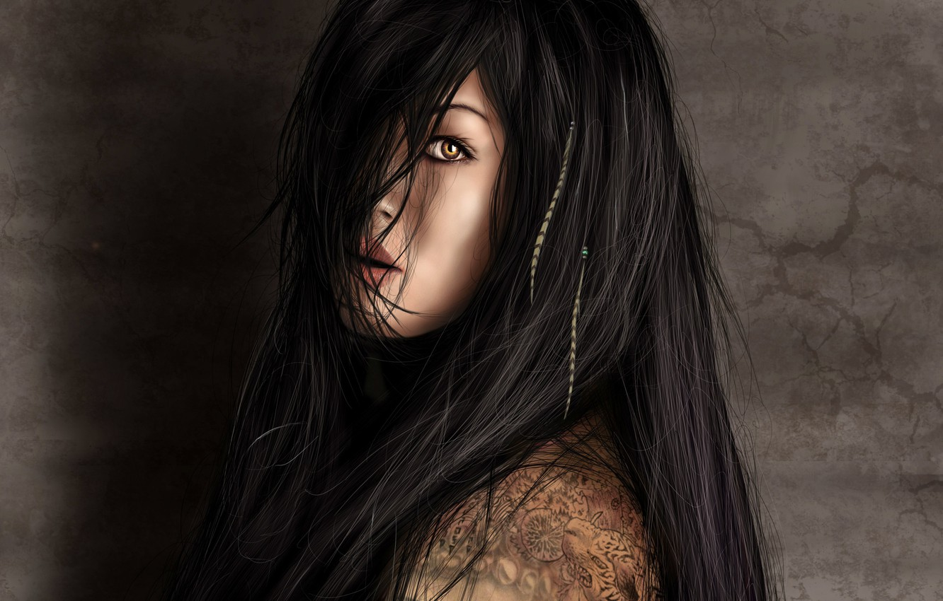 Photo wallpaper look, girl, face, figure, tattoo, art, long hair