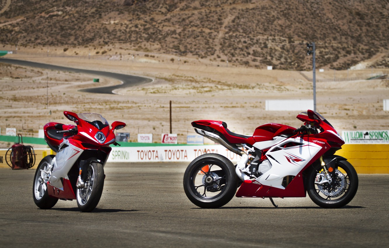 Photo wallpaper sand, motorcycles, track, red, mv agusta, Agusta