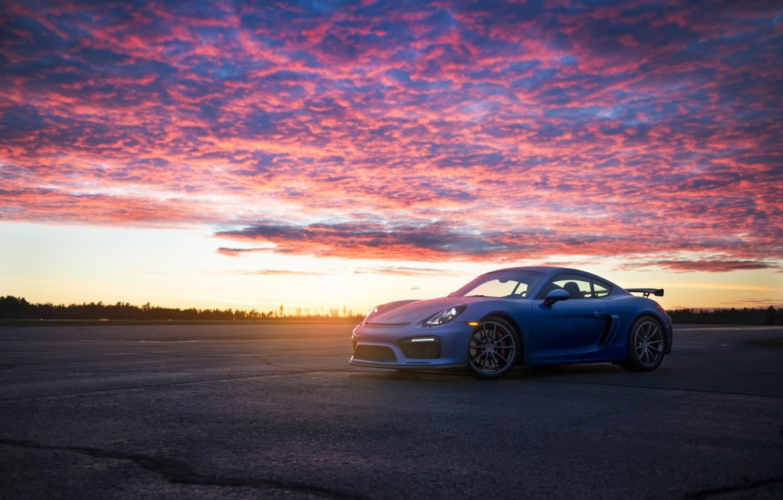 Photo wallpaper Porsche, Cayman, Blue, GT4