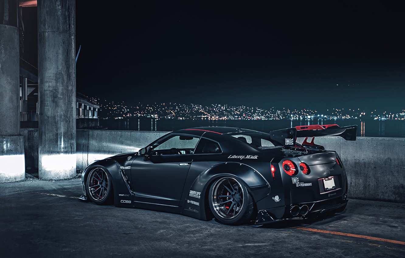 Photo wallpaper City, Japan, Nissan, GT-R, Car, Black, Matte, R35, Sport, Low, Rear, Liberty, Nigth