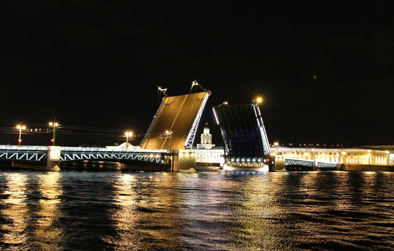Photo wallpaper night, Peter, bridges