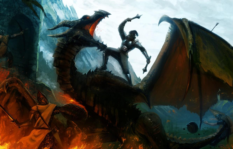 Photo wallpaper mountains, weapons, fire, dragon, sword, warrior, art, battle, shield, Mace