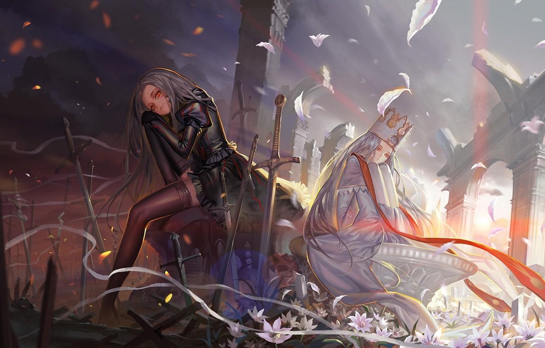 Photo wallpaper flowers, weapons, girls, sword, crown, petals, ruins, arch, battlefield, fate stay night, fate zero
