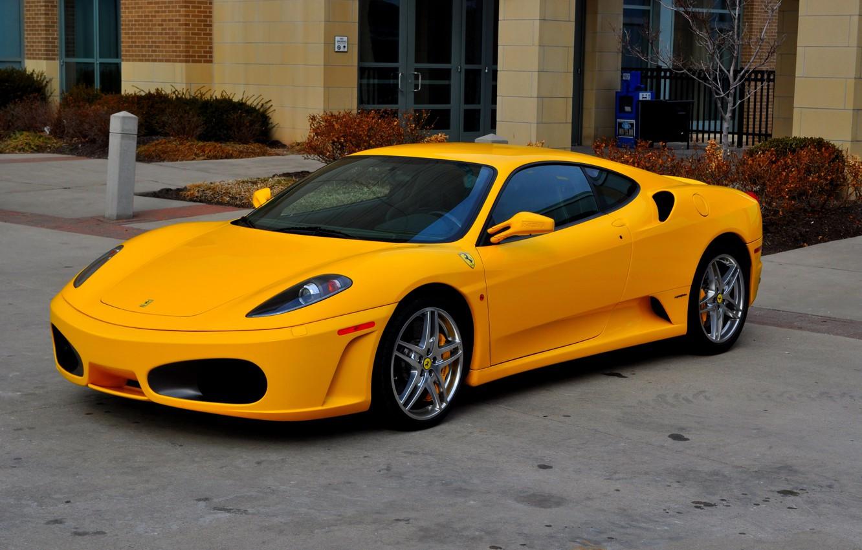 Photo wallpaper F430, Ferrari, yellow, parkig