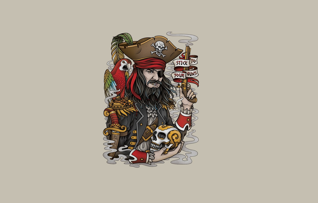 Photo wallpaper weapons, the inscription, bird, skull, minimalism, head, feathers, pirate, parrot, skeleton, beard, pirate