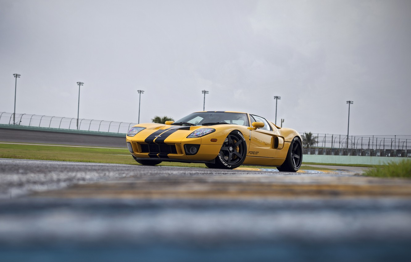 Photo wallpaper Ford, yellow, pirelli, HRE, RS105, GT