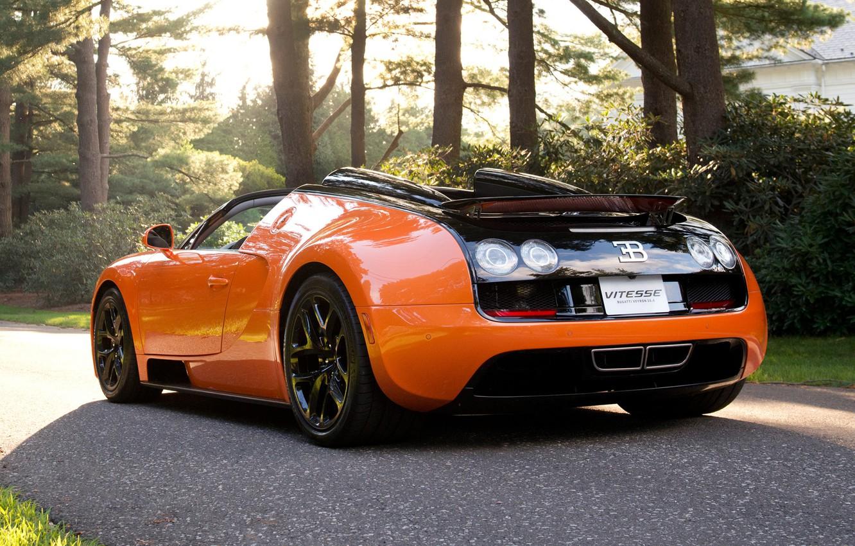 Photo wallpaper road, machine, black, sport, Bugatti Veyron, Kar, Vitesse, trees., Bugatti Veyron, orange