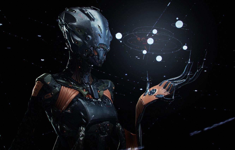 Photo wallpaper dark, robot, seeker