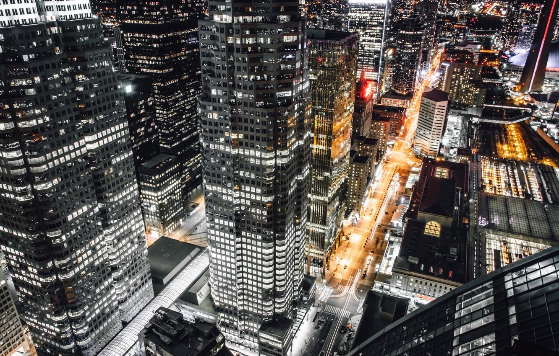Photo wallpaper light, night, the city, USA, New York, street