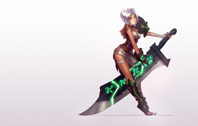 Photo wallpaper girl, background, sword, art, league of legends, riven