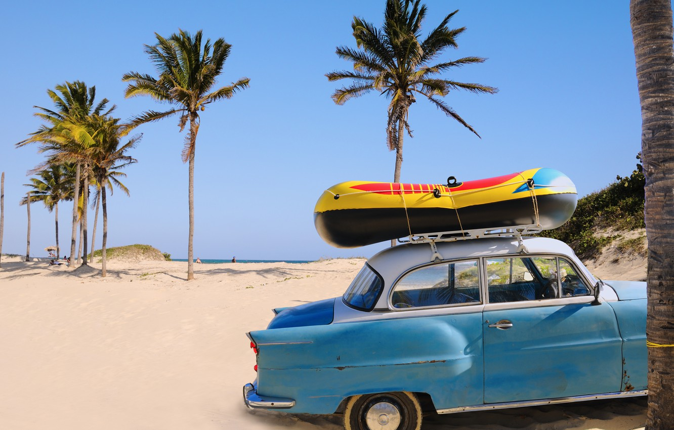 Photo wallpaper sand, machine, beach, palm trees, the ocean, stay, boat, vacation, journey