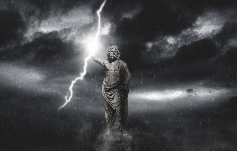 Photo wallpaper the sky, rain, lightning, God, dark, storm, rain, sky, Zeus, zeus, Olympus, god, olimp