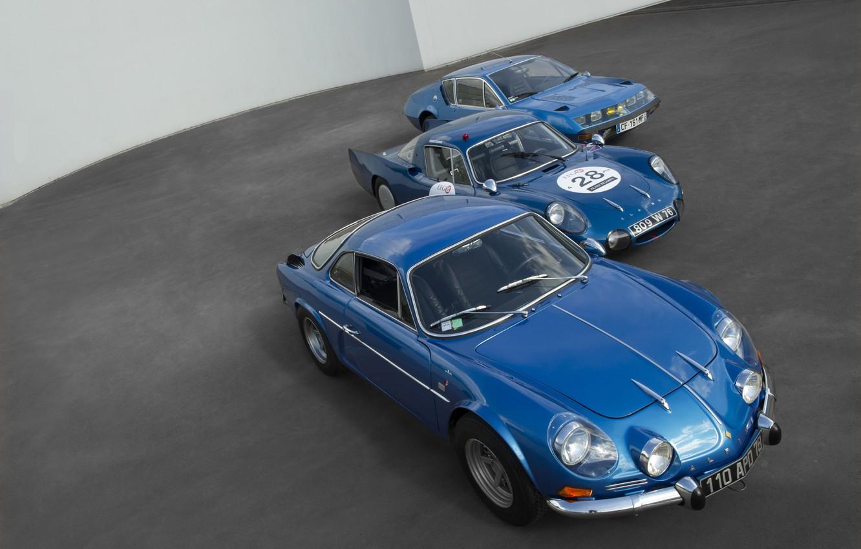 Photo wallpaper photo, Three, Blue, Cars, Alpine, 2015, Vision Gran Turismo, Metallic