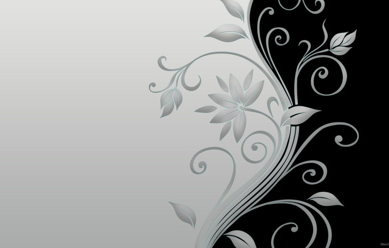 Photo wallpaper Flowers, Black, Leaves, Grey