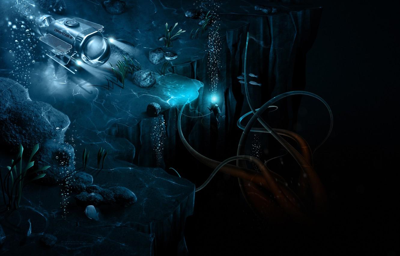 Photo wallpaper tentacles, abyss, bathyscaphe, the Aquanaut