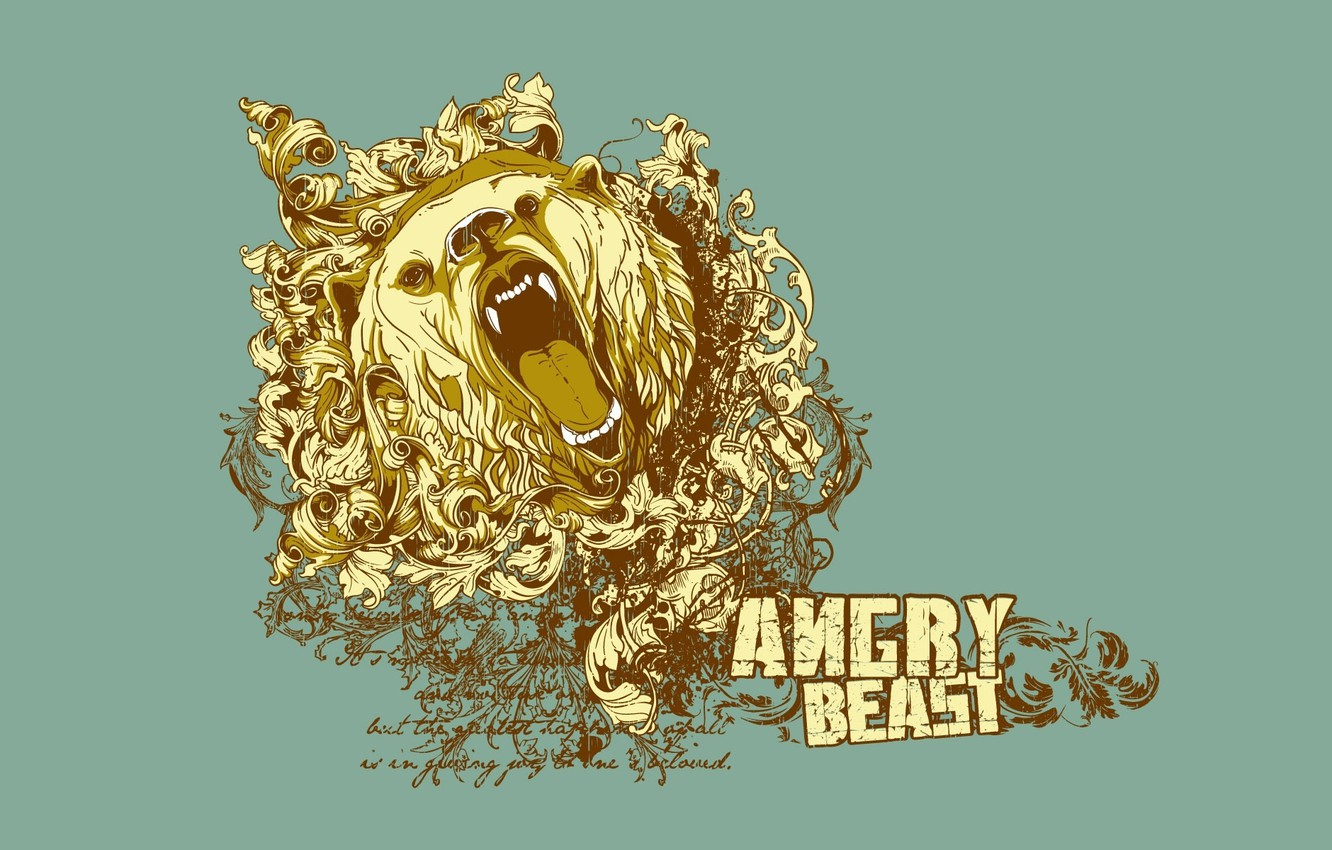 Photo wallpaper Minimalism, Bear, Mouth, The inscription, Angry Beast