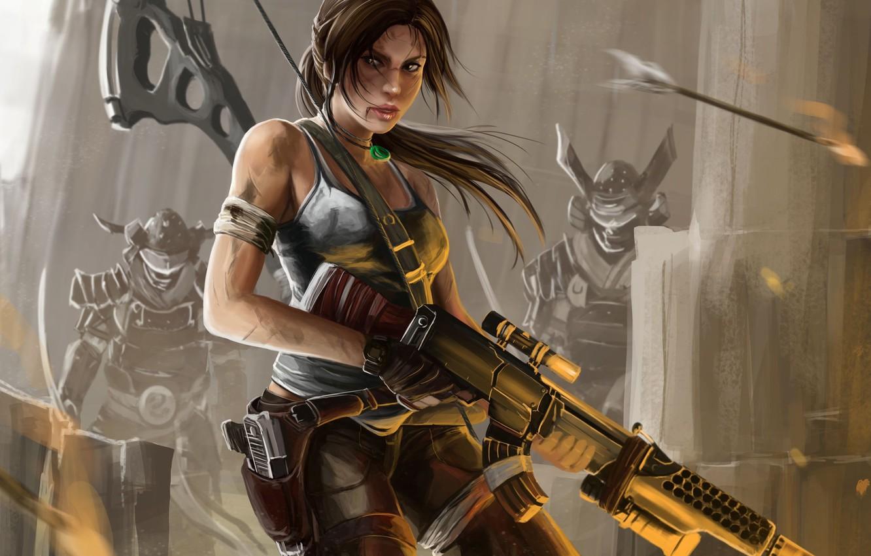 Photo wallpaper girl, bow, art, machine, arrow, tomb raider, Lara Croft, enemies, reborn, Peter Balogh
