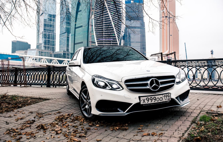 Photo wallpaper The city, Mercedes, Benz, E-class, AMG, Moscow-City