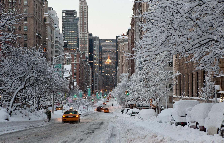 Photo wallpaper city, the city, USA, NYC, winter, New_York