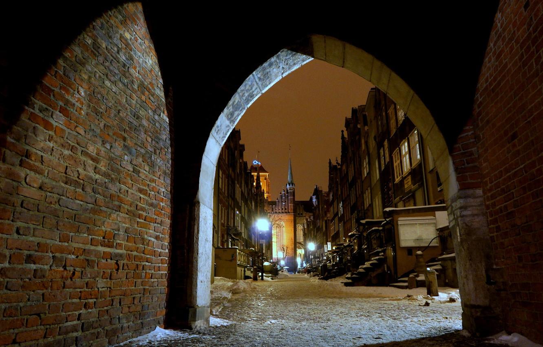 Photo wallpaper winter, night, lights, street, home, Poland, arch, Gdansk