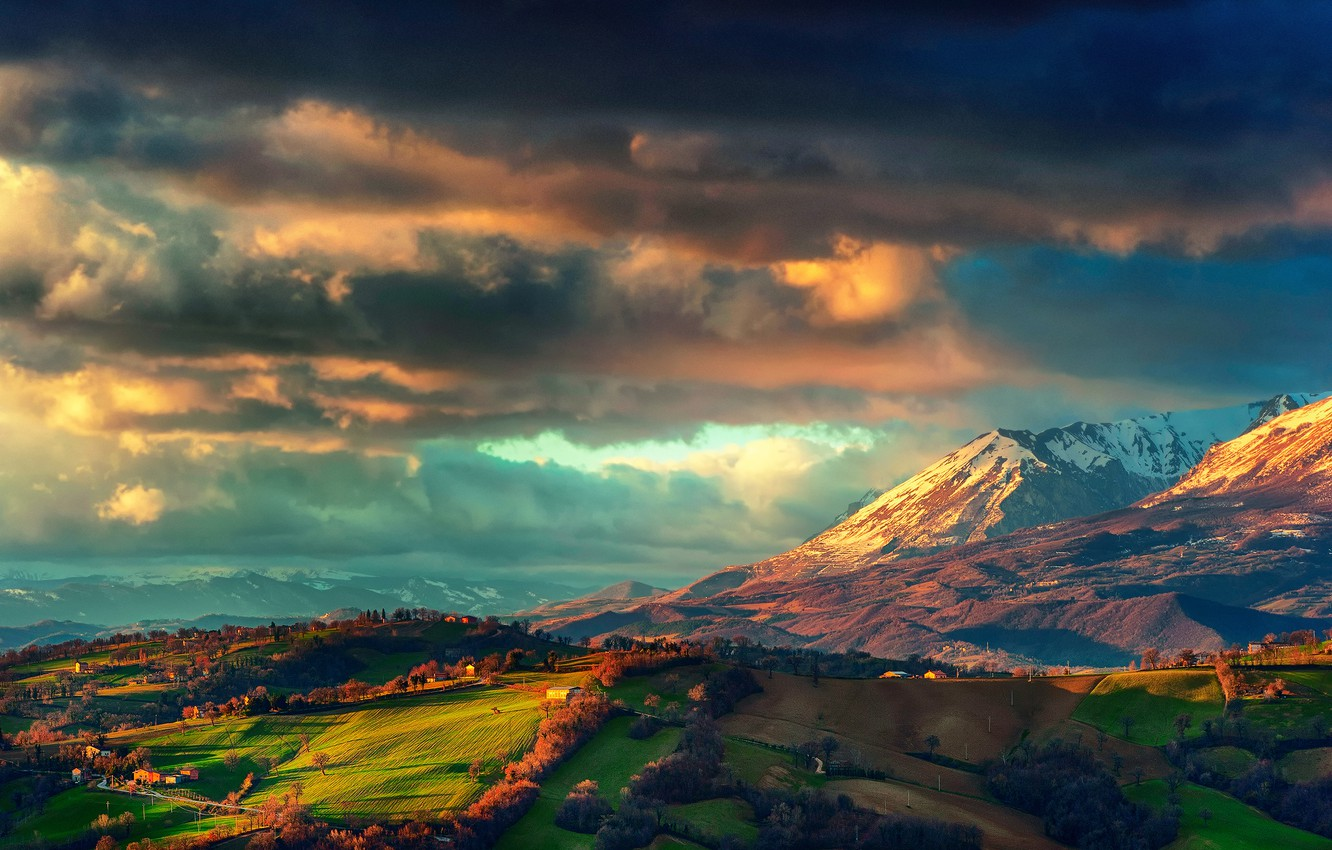 Photo wallpaper the sky, mountains, field, home, spring, valley, Italy, March, the mountain range Monti Sibillini, storm …