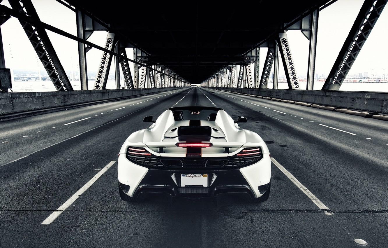 Photo wallpaper McLaren, British, Bridge, MP4-12C, White, Back, Supercar, Rear